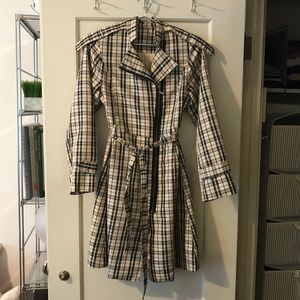 Black & Tan Plaid Trench Coat - Couture